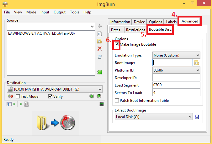 MAKE BOOTABLE WINDOWS 7, 8 DVD DISC FROM IMGBURN nkworld4u