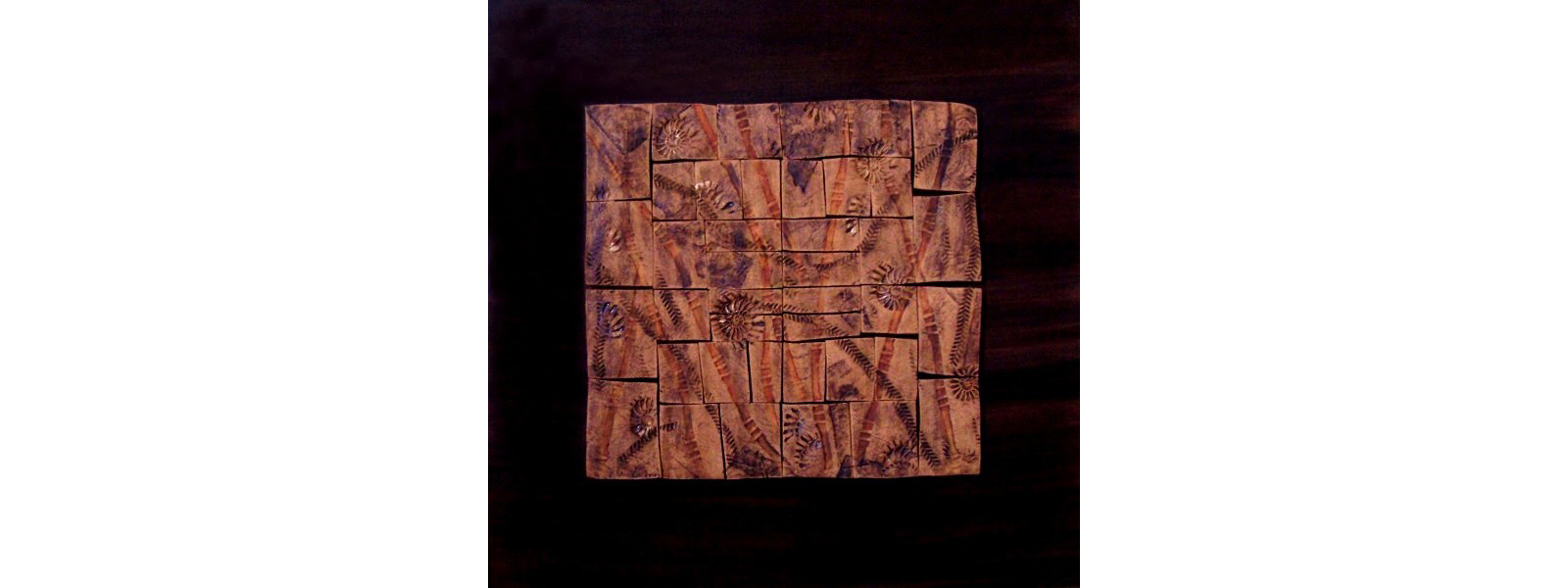 "This Square home decor wall art made of Stoneware tiles on polychrome plywood by an American Artist Ana Caravias,  24"" x 24"""
