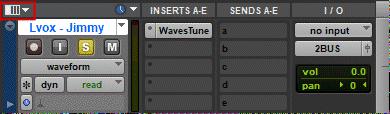 Display IO section of Edit window in Avid Pro Tools