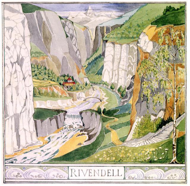 Rivendell. Illustration for The Hobbit by J.R.R. Tolkien