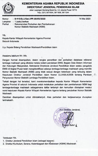 Surat Edaran Rekomendasi Perbaikan dan Pembaharuan Nomor Statistik Madrasah (NSM) Beserta Lampiran