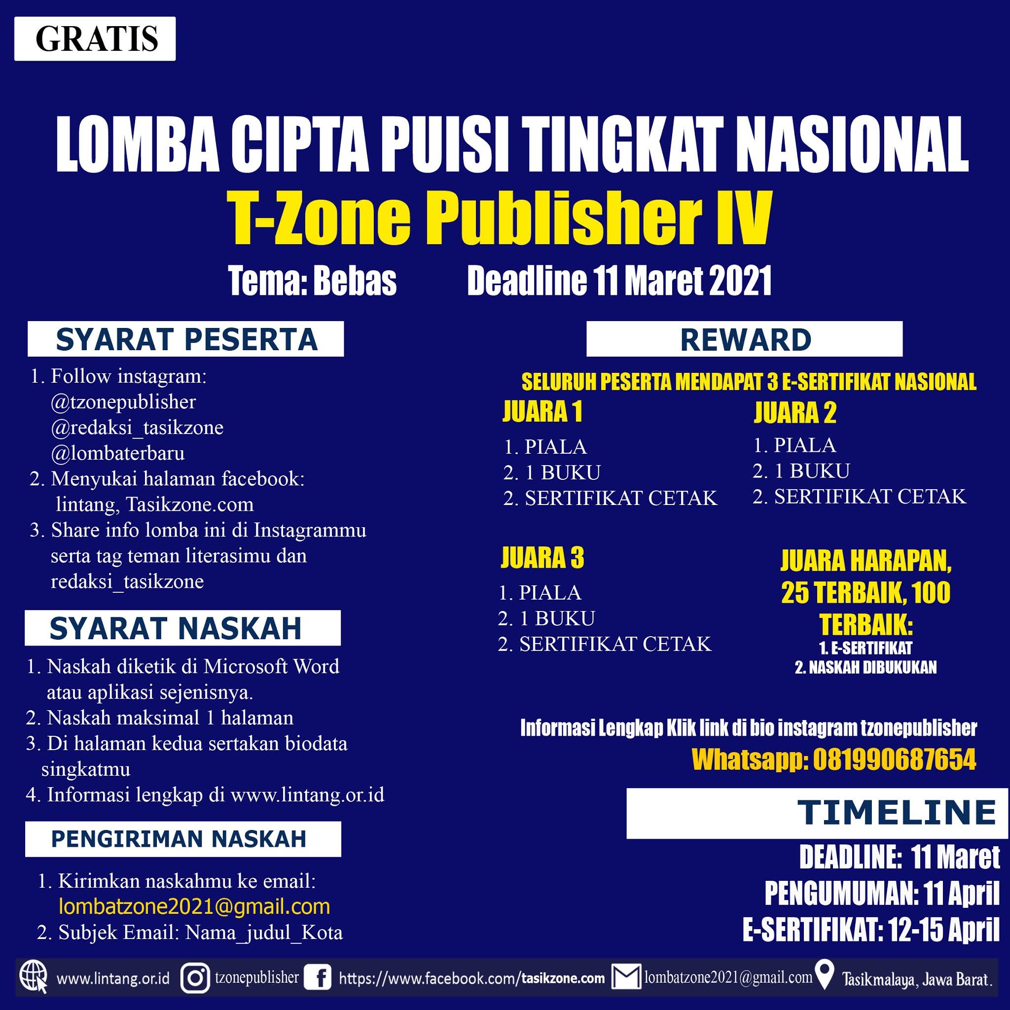 LOMBA CIPTA PUISI TINGKAT NASIONAL TZONE PUBLISHER DEADLINE 11 MARET 2021