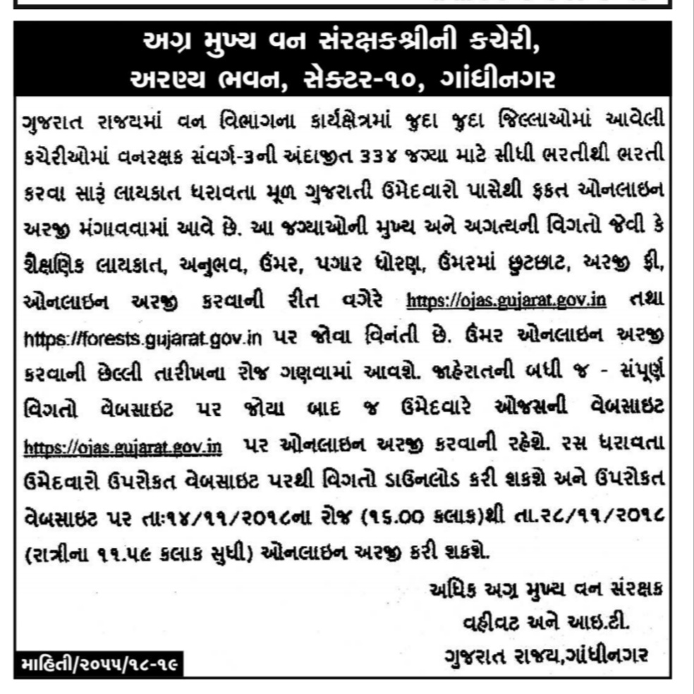 Gujarat Forest Department 334 Posts Recruitment 2018