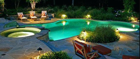 Wonderful Light Landscaping Around Pool