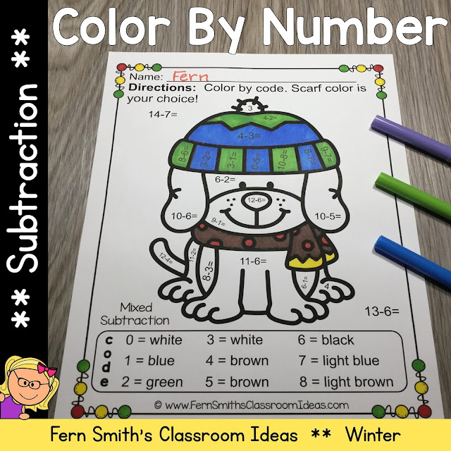 Getting students to review their addition and subtraction facts can be challenging! You will love the no prep, print and go ease of these Winter Color By Number Subtraction Printable Worksheets.  #FernSmithsClassroomoIdeas