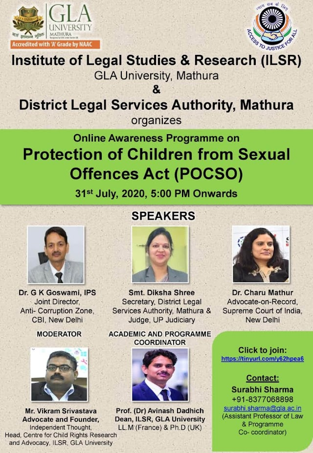[Online] Awareness Programme on Protection of Child from Sexual Offences Act by Institute of Legal Studies & Research, GLA University & District Legal Services Authority, Mathura [Register Soon]