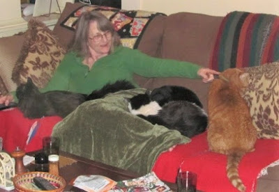 Author Mollie Hunt with four cats.