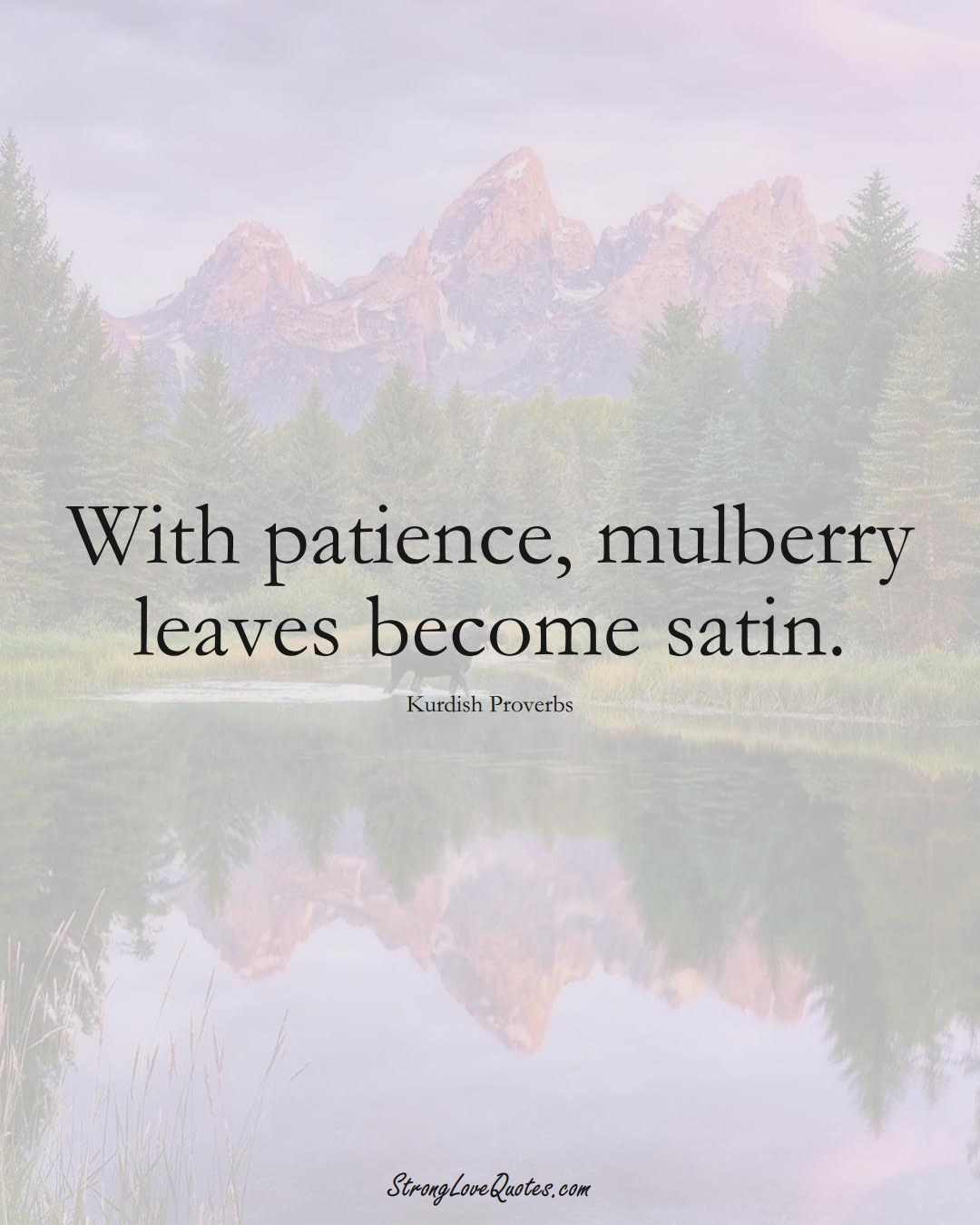 With patience, mulberry leaves become satin. (Kurdish Sayings);  #aVarietyofCulturesSayings