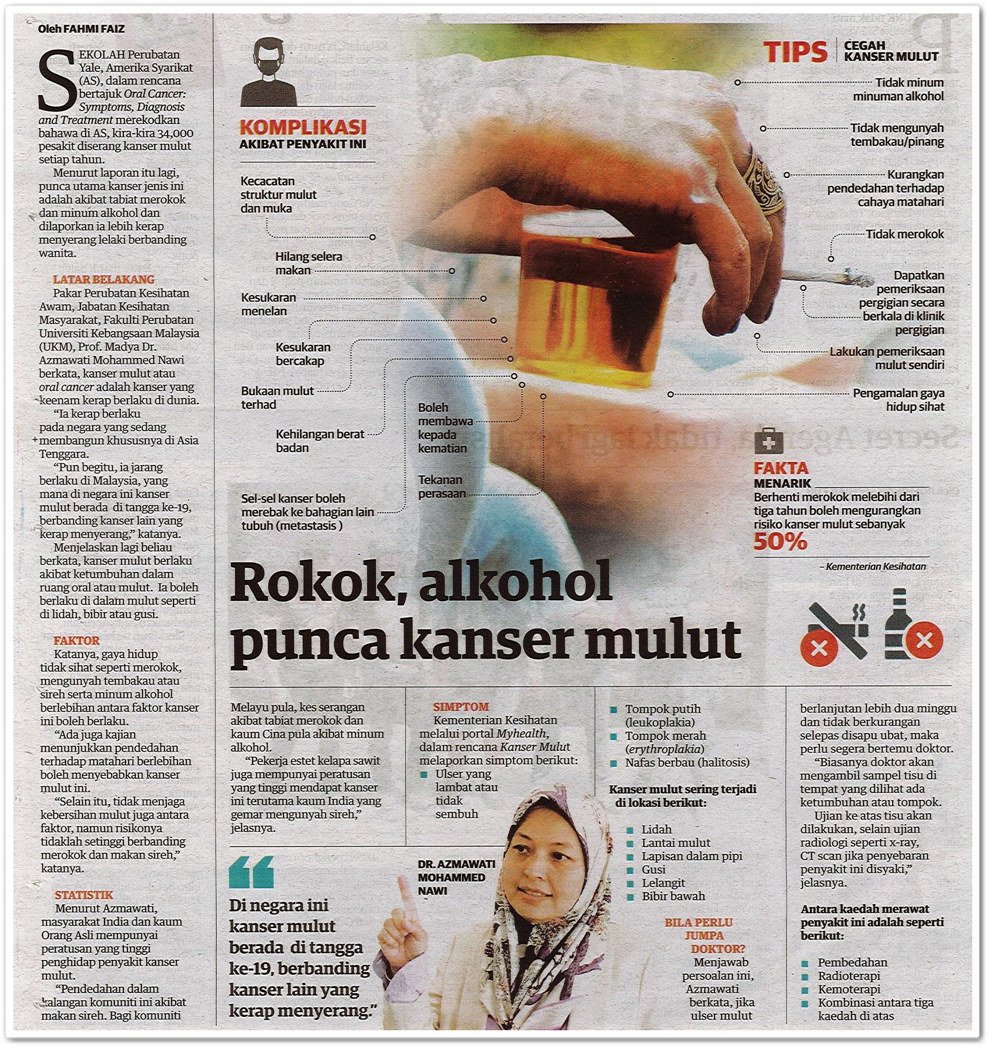 Rokok, alkohol punca kanser mulut