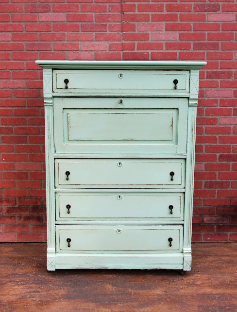 French Provincial Shabby Chic Dresser Sea Foam Green 4 Drawers Cabinet Sold 700250