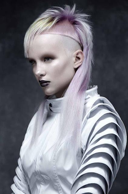 pelo de color rosa pastel y gris