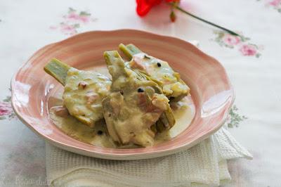Alcachofas a la crema de tomillo y parmesano sin lactosa