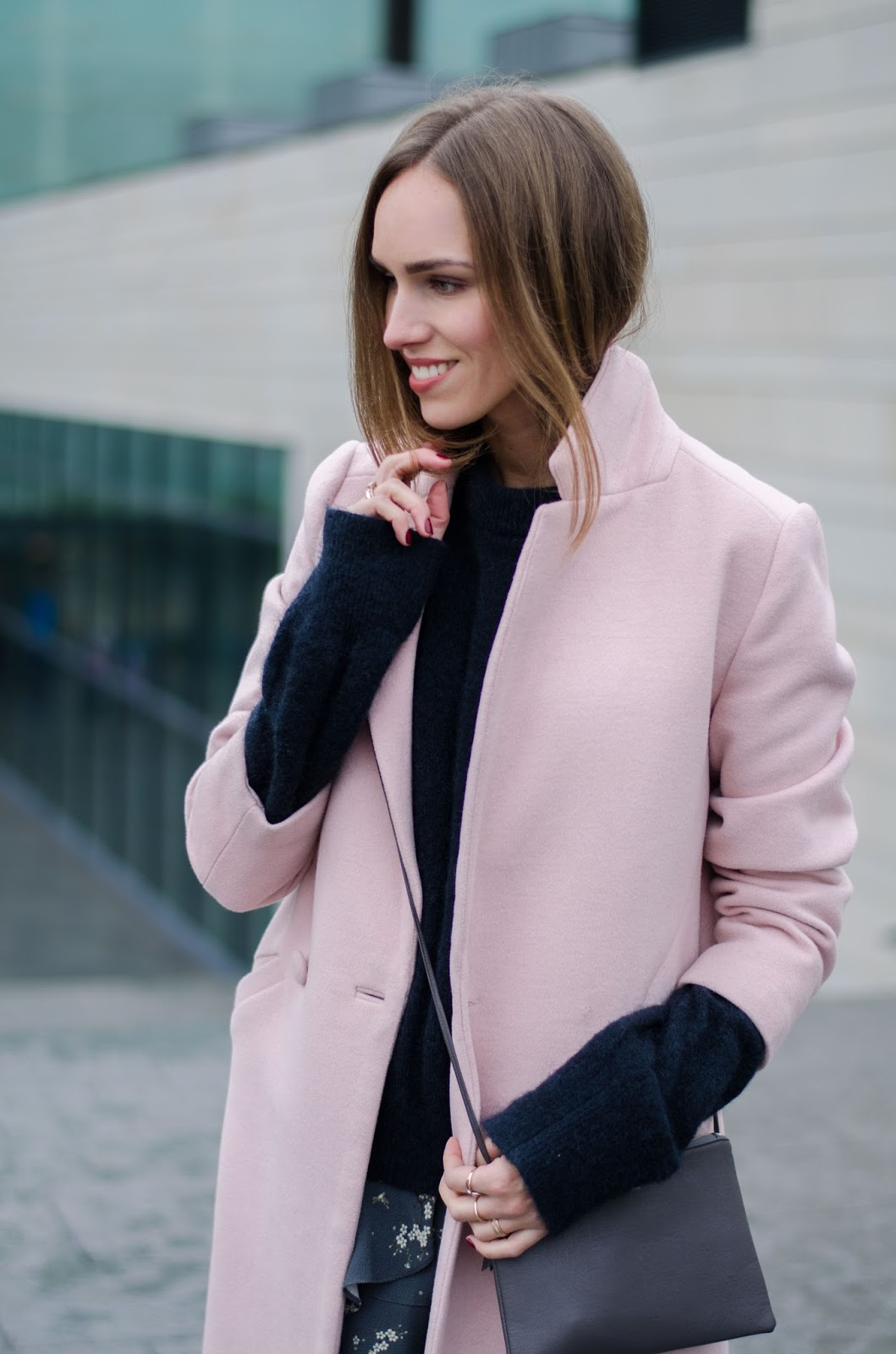 pink coat moahir sweater outfit