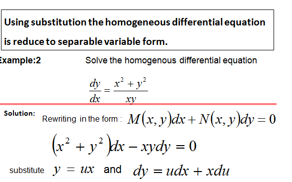 Method for solving homogenous differential equation