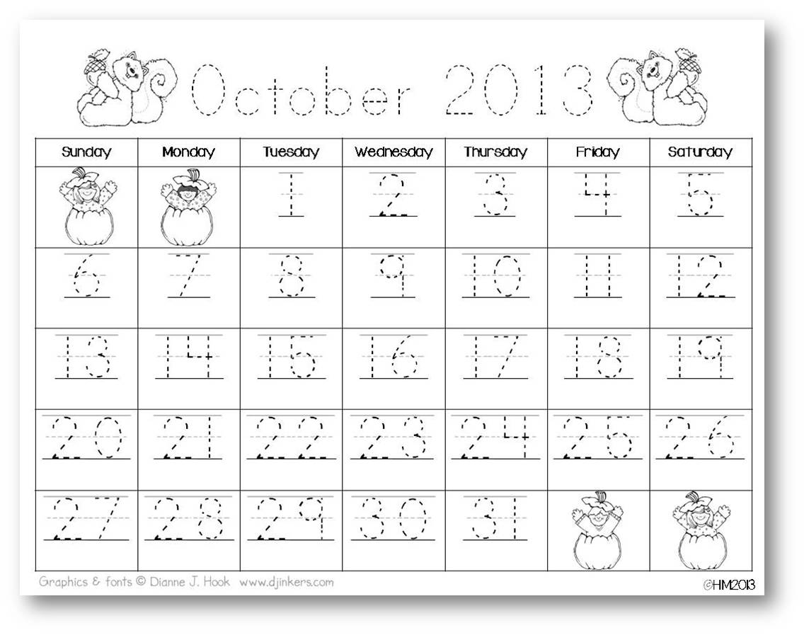 Printable Calendar With Traceable Numbers