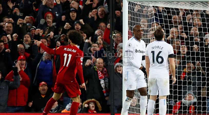 ليفربول يقترب اكثر من لقب الدوري الانجليزي بعد الفوز على فريق وست هام يونايتد