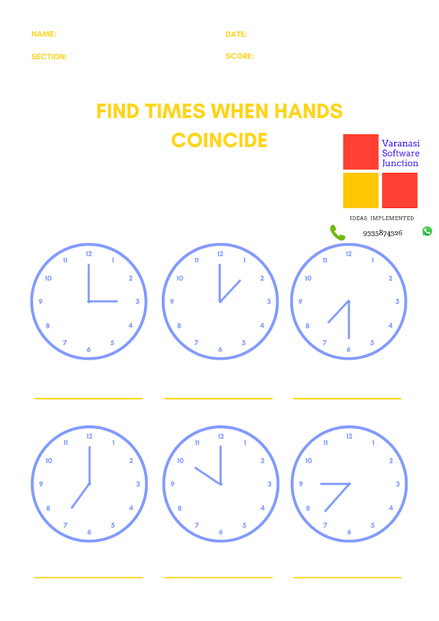 How to find the hour and minute for the times when the hour and minute needles will be exactly over each other?