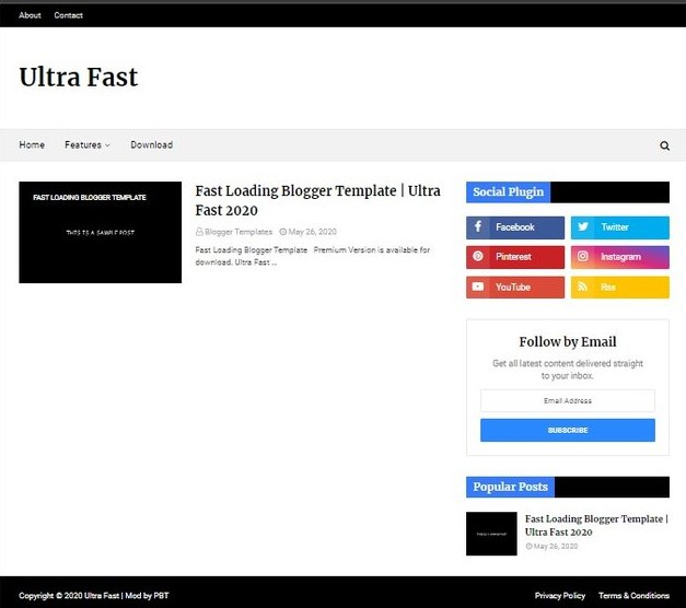 Ultra Fast Loading Blogger Template 2020