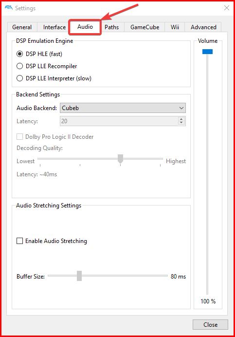 Audio settings dolphin emulator