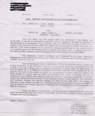 slap fake 498a with RTI: Reaveld by RTI - C I D  West Bengal
