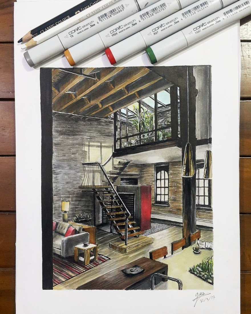02-Living-Room-Industrial-Style-Glenn-Geraldi-Drawings-of-Architecture-and-Interior-Design-www-designstack-co