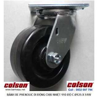 Bánh xe Phenolic chịu nhiệt càng xoay 5 inch Colson Mỹ | 4-5109-339 www.banhxepu.net