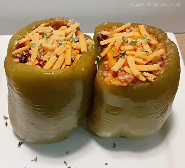 Crockpot Stuffed Peppers - Veggies First Then Dessert