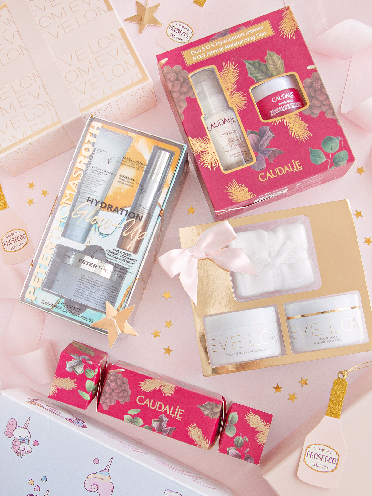 A selection of Christmas skincare products from brands Caudalie, Peter Thomas Roth and Eve Lom
