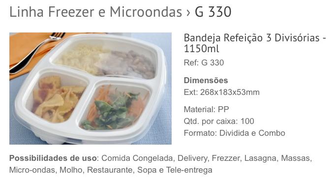 Embalagem para Marmitex Galvanotek G 330 na Cozinha do Quintal