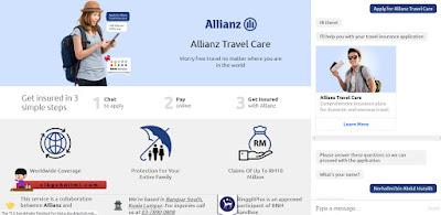 Konsep chatting Allianz Travel Care yang sangat mesra pengguna