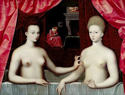 Школа Фонтенбло, ок.1595 - Габриэль д'Эстре в ванне со своей сестрой