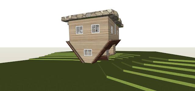 mô hình thiết kế nhà quay ngược đầu
