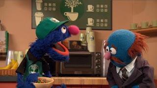 Grover and Mr. JohnsonThe Coffee Plant, waiter Grover, Sesame Street Episode 4403 The Flower Show season 44
