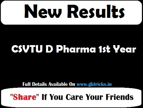 CSVTU D Pharma 1st Year