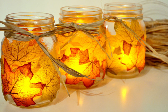autumn leaf rustic wedding mason jars candle holders
