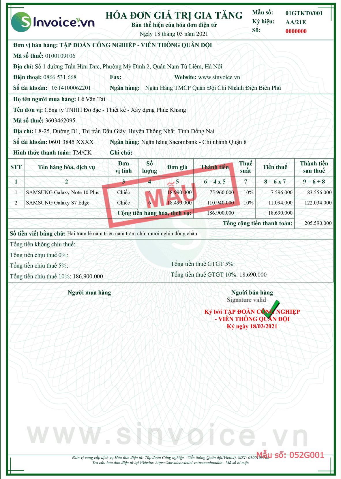 Mẫu hóa đơn điện tử số 052G001