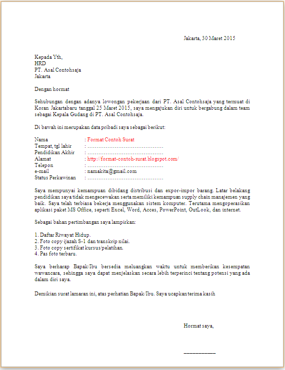 Surat Lamaran Kepala Gudang