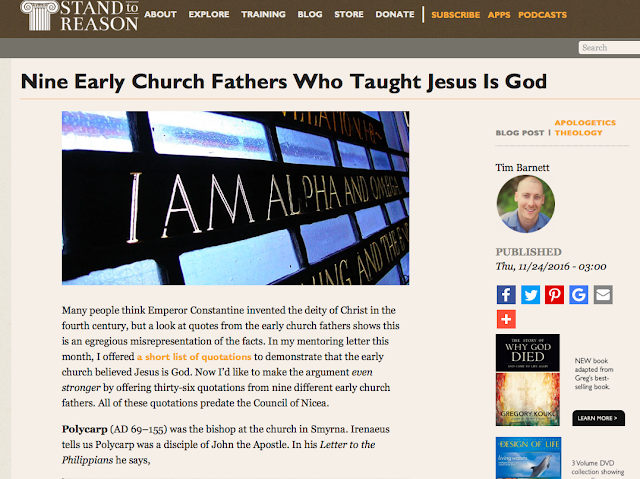 Nine Early Church Fathers Who Taught Jesus is God.