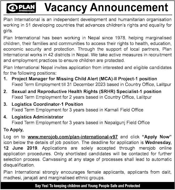 Vacancy at Plan International Nepal.