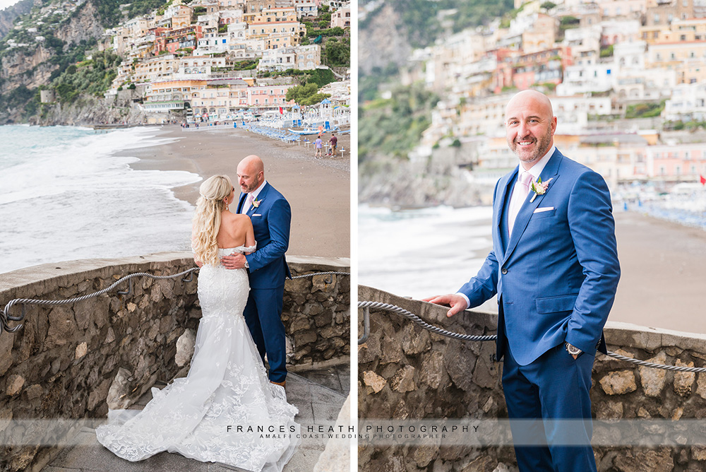 Bride and groom portrait on Positano beach with waves