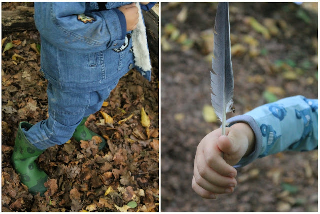 Herbstwald Kinder Feder Waldbesuch Smafolk ELTERN Herbstkollektion Kooperation Fall 2017 Herbstfunde Wald Jules kleines Freudenhaus