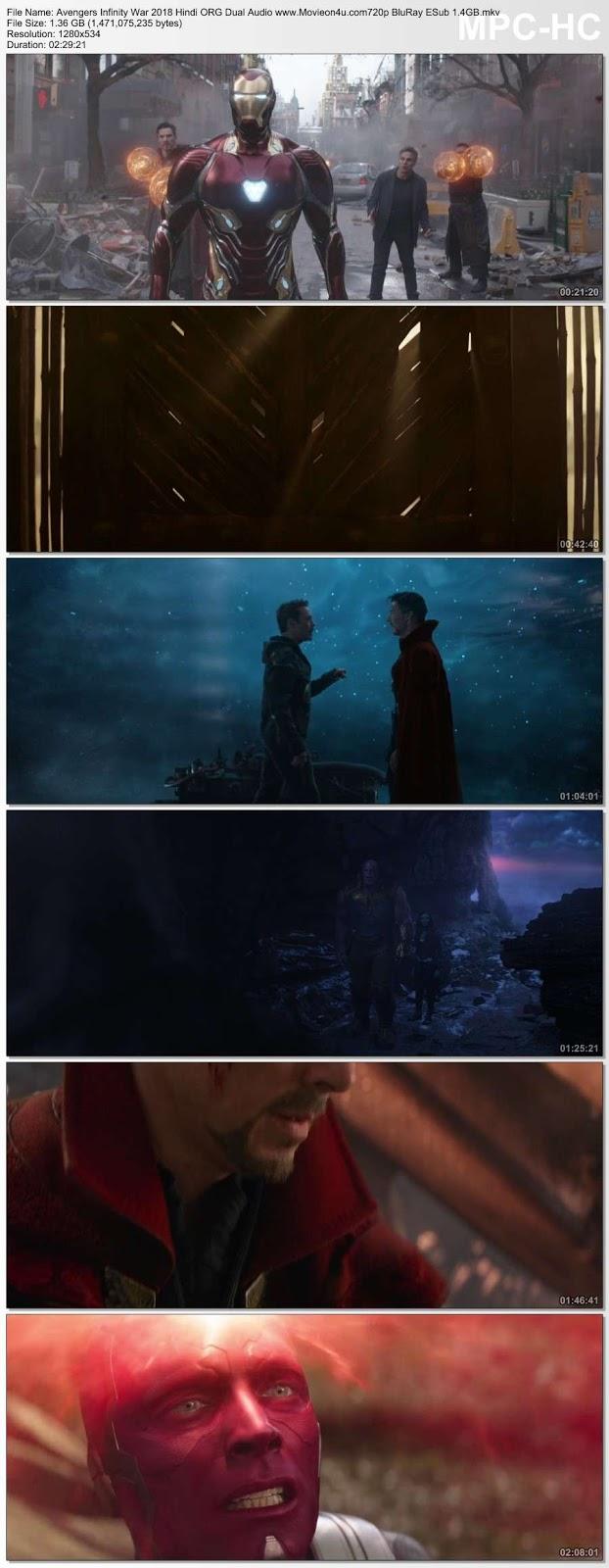 Avengers: Infinity War (2018) Hindi ORG Dual Audio 720p BluRay x264 ESub 1.4GB Download HD