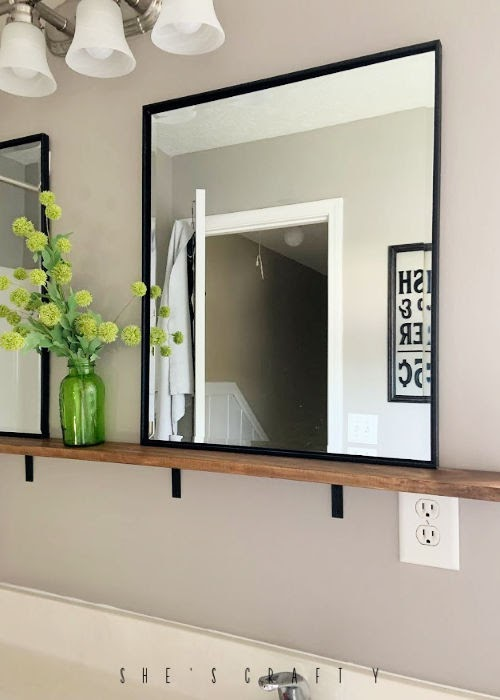 mirror shelf in bathroom, easy shelf to hold mirrors in bathroom, bathroom mirror ideas