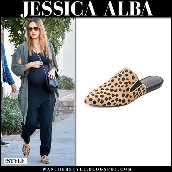Jessica Alba in leopard print mules jenni kayne maternity street fashion november 22