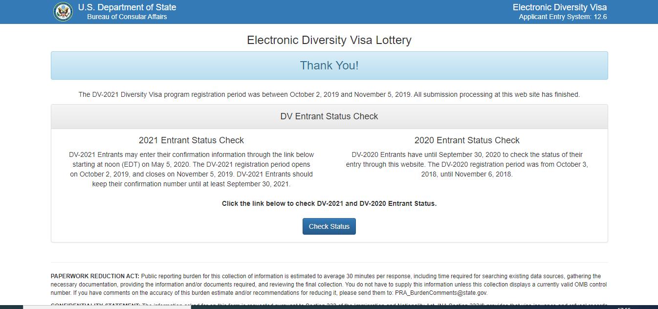 استمارة التسجيل في قرعة امريكا 2020