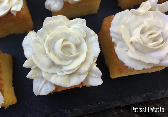 recette de carrés aux 2 citrons, cupcakes carrés au citron, crème au beurre au citron vert, pâtisserie, buttercream, lemon buttercream, buttercream flowers, bouchées aux citrons, patissi-patatta