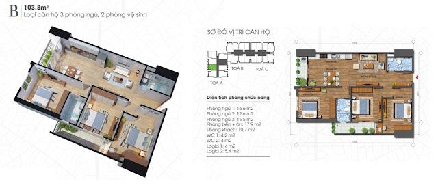 Thiết kế căn 103m - 3 phòng ngủ Ecolife Tây Hồ