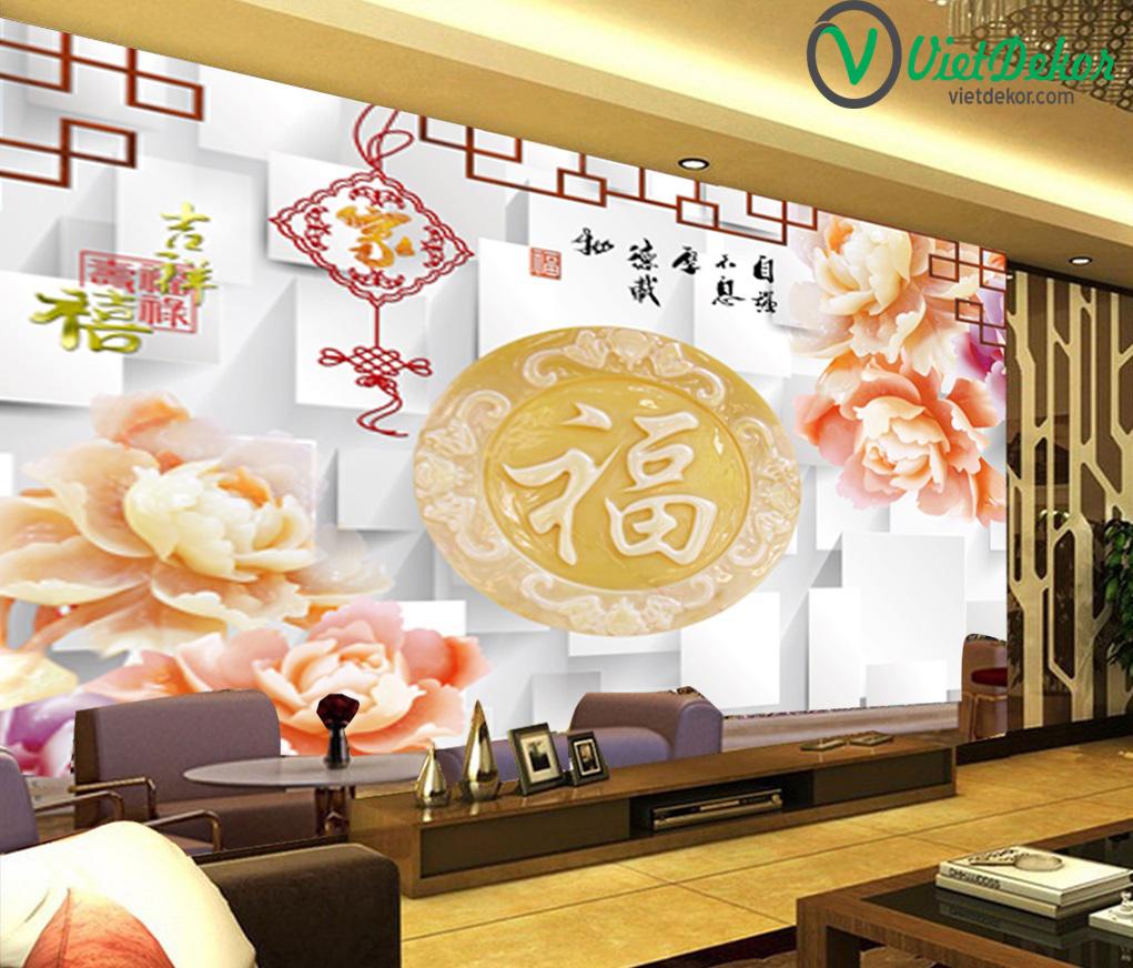 Tranh 3d dán tường hoa mẫu đơn ngọc bích