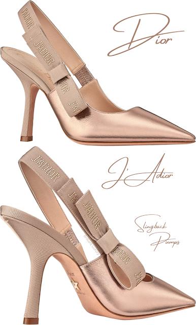 Metallic rosegold Dior J'Adior lambskin slingback pumps #brilliantluxury