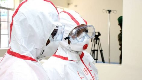 Mbagathi Hospital nurses on the coronavirus isolation centre on a protective gear. PHOTO | NMG